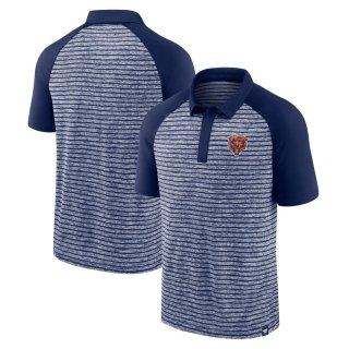 シカゴ・ベアーズ Fanatics Branded Line Up Shadow Stripe Raglan ポロシャツ - Navy