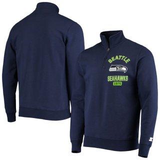 シアトル・シーホークス Starter Heisman Fleece Quarter-Zip ジャケット - College Navy