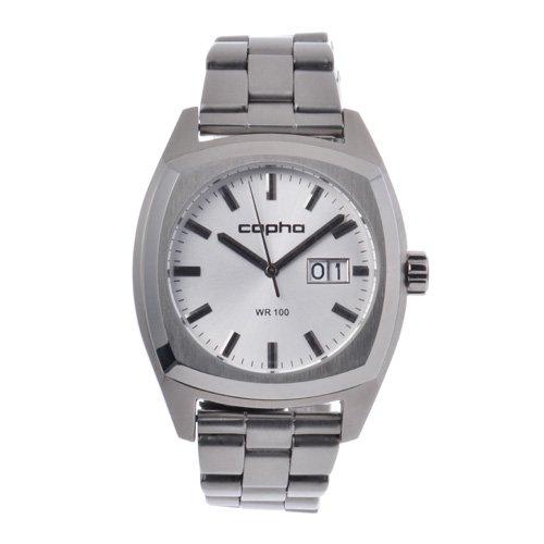 [メンズ] 北欧デンマーク COPHA XL コプハ エックスエル スチールベルト シルバーダイアル クォーツ腕時計 デイトカレンダー スクエア 日本限定