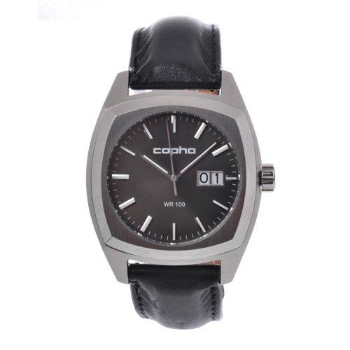 [メンズ] 北欧デンマーク COPHA XL コプハ エックスエル クラシックレザーベルト ブラックダイアル クォーツ腕時計 デイトカレンダー スクエア 日本限定