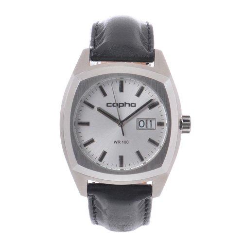 [メンズ] 北欧デンマーク COPHA XL コプハ エックスエル クラシックレザーベルト シルバーダイアル クォーツ腕時計 デイトカレンダー スクエア 日本限定