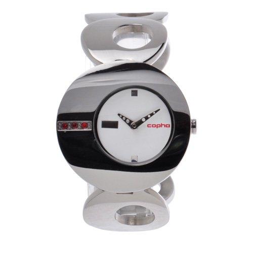 [レディース] 北欧デンマーク COPHA O コプハ オー シルバー ホワイトダイアル ブレスレットウォッチ レッドラインストーン クォーツ腕時計 日本限定