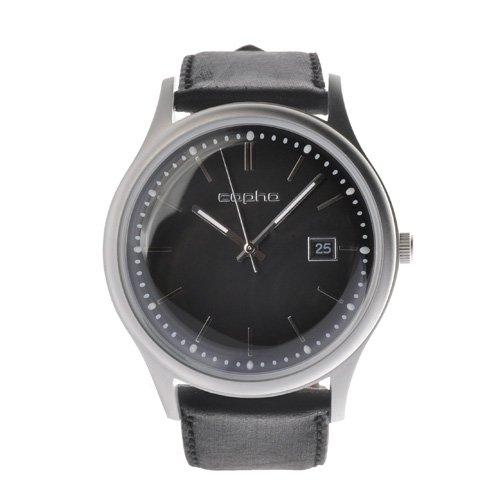 [メンズ] 北欧デンマーク COPHA SLIM CLASSIC 42 コプハ スリムクラシック カーフベルト ブラック バウハウスデザイン クォーツ腕時計