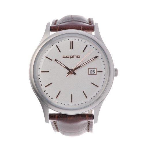[メンズ] 北欧デンマーク COPHA SLIM CLASSIC 42 コプハ スリムクラシック クロコベルト ホワイト-ローズゴールド バウハウスデザイン クォーツ腕時計