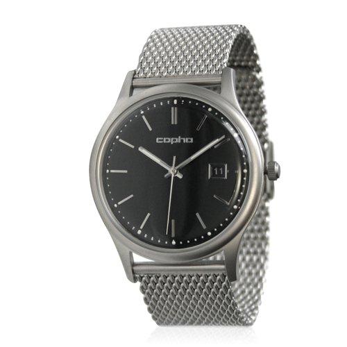 [メンズ] 北欧デンマーク COPHA SLIM CLASSIC 42 コプハ スリムクラシック メッシュベルト ブラック×シルバー バウハウスデザイン クォーツ腕時計
