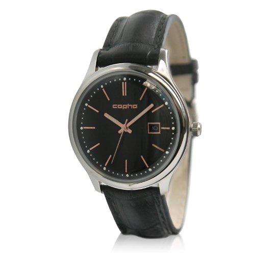 [メンズ] 北欧デンマーク COPHA SLIM CLASSIC 40 コプハ スリムクラシック クロコベルト ブラック-ローズゴールド バウハウスデザイン クォーツ腕時計