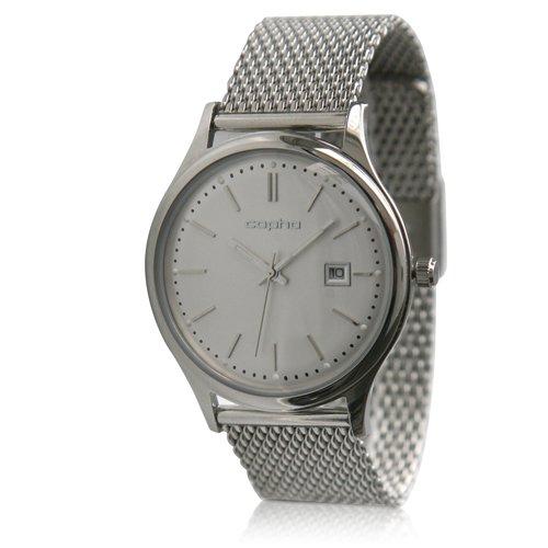 [メンズ] 北欧デンマーク COPHA SLIM CLASSIC 40 コプハ スリムクラシック メッシュベルト ホワイト×シルバー バウハウスデザイン クォーツ腕時計