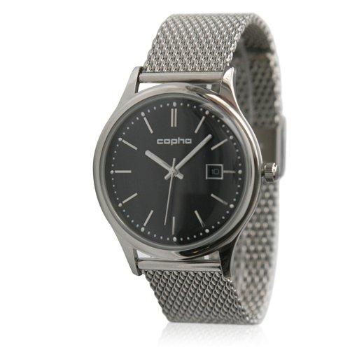 [メンズ] 北欧デンマーク COPHA SLIM CLASSIC 40 コプハ スリムクラシック メッシュベルト ブラック×シルバー バウハウスデザイン クォーツ腕時計