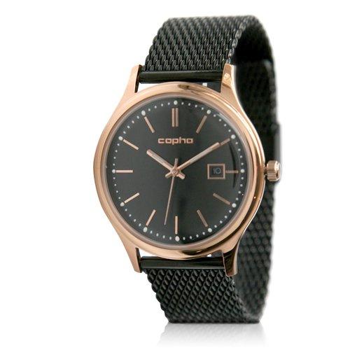 [メンズ] 北欧デンマーク COPHA SLIM CLASSIC 40 コプハ スリムクラシック メッシュベルト ブラック-ローズゴールド バウハウスデザイン クォーツ腕時計