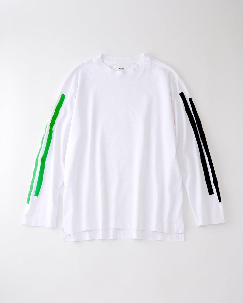 2ラインロングTシャツ 白  - ¥16,000