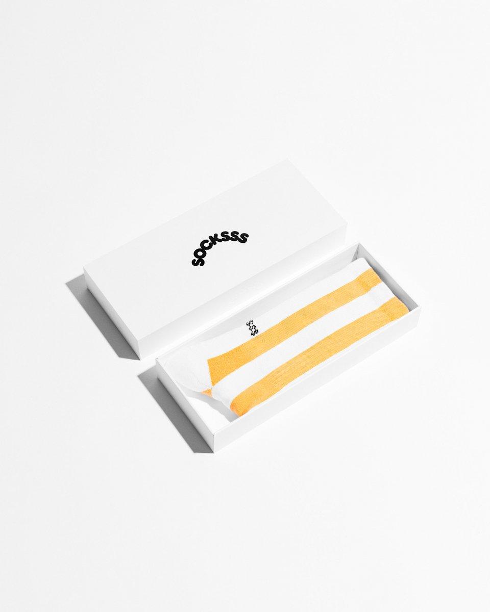 ソックス 縦しましま 白黄色 - ¥3,200