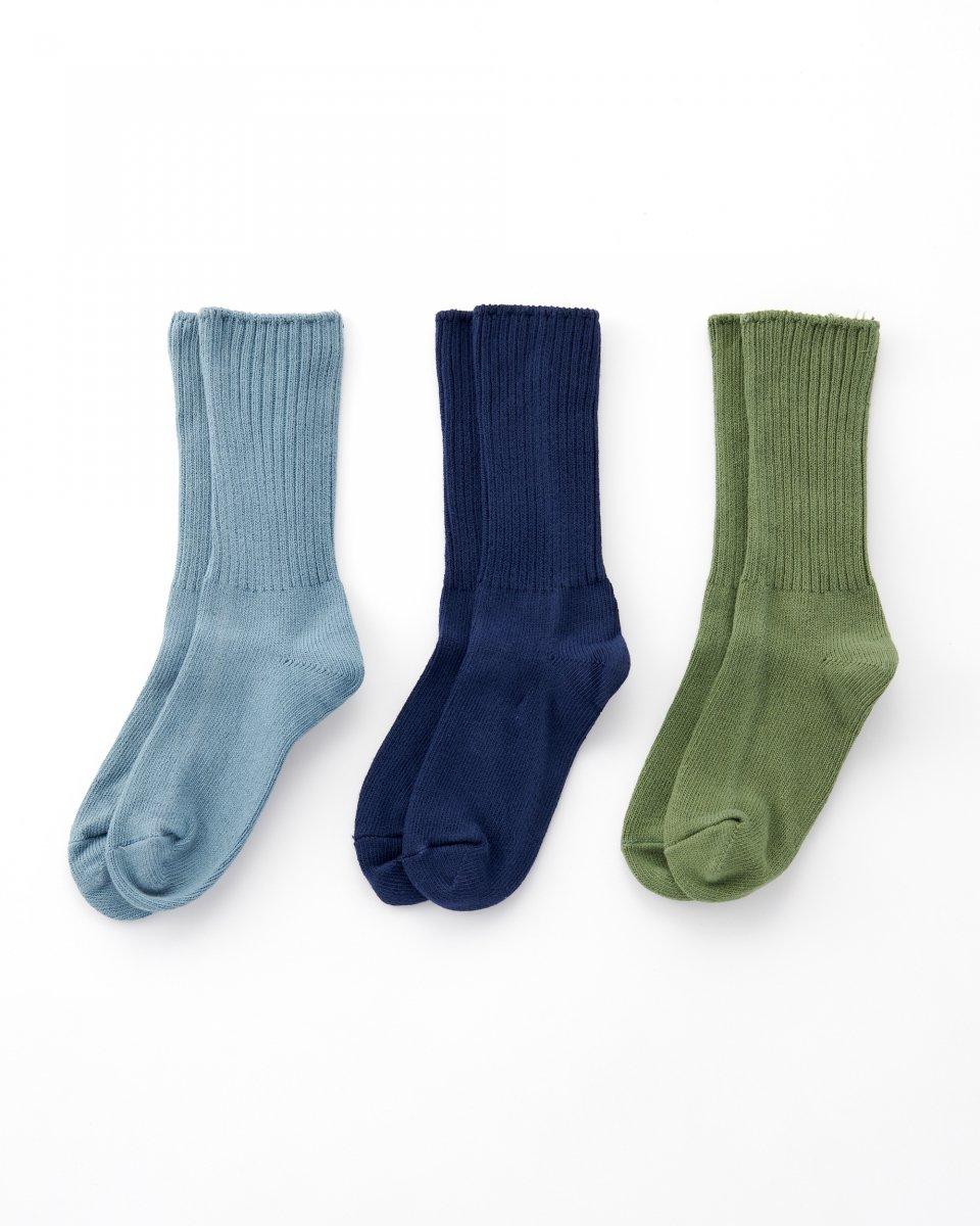 オーガニックコットン靴下 3足パック「海の色グラデーション」 - ¥4,510