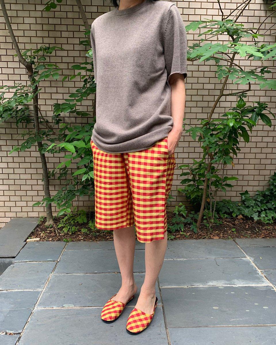 ショートパンツ ギンガム赤 x イエロー - ¥29,700