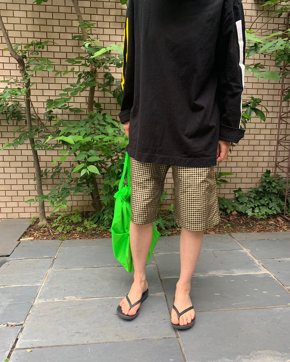 ショートパンツ ギンガム黒 x イエロー - ¥36,300