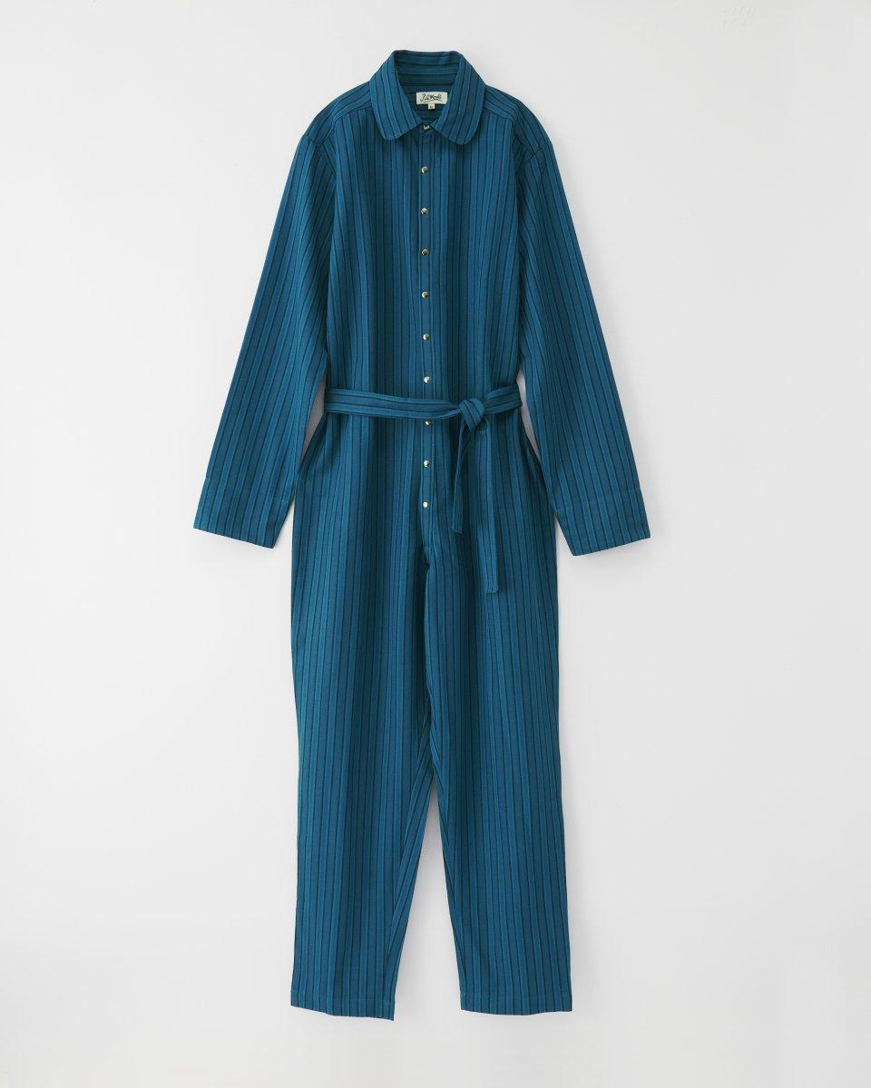 ツナギ ヘリンボーンストライピー 青緑 - ¥27,500