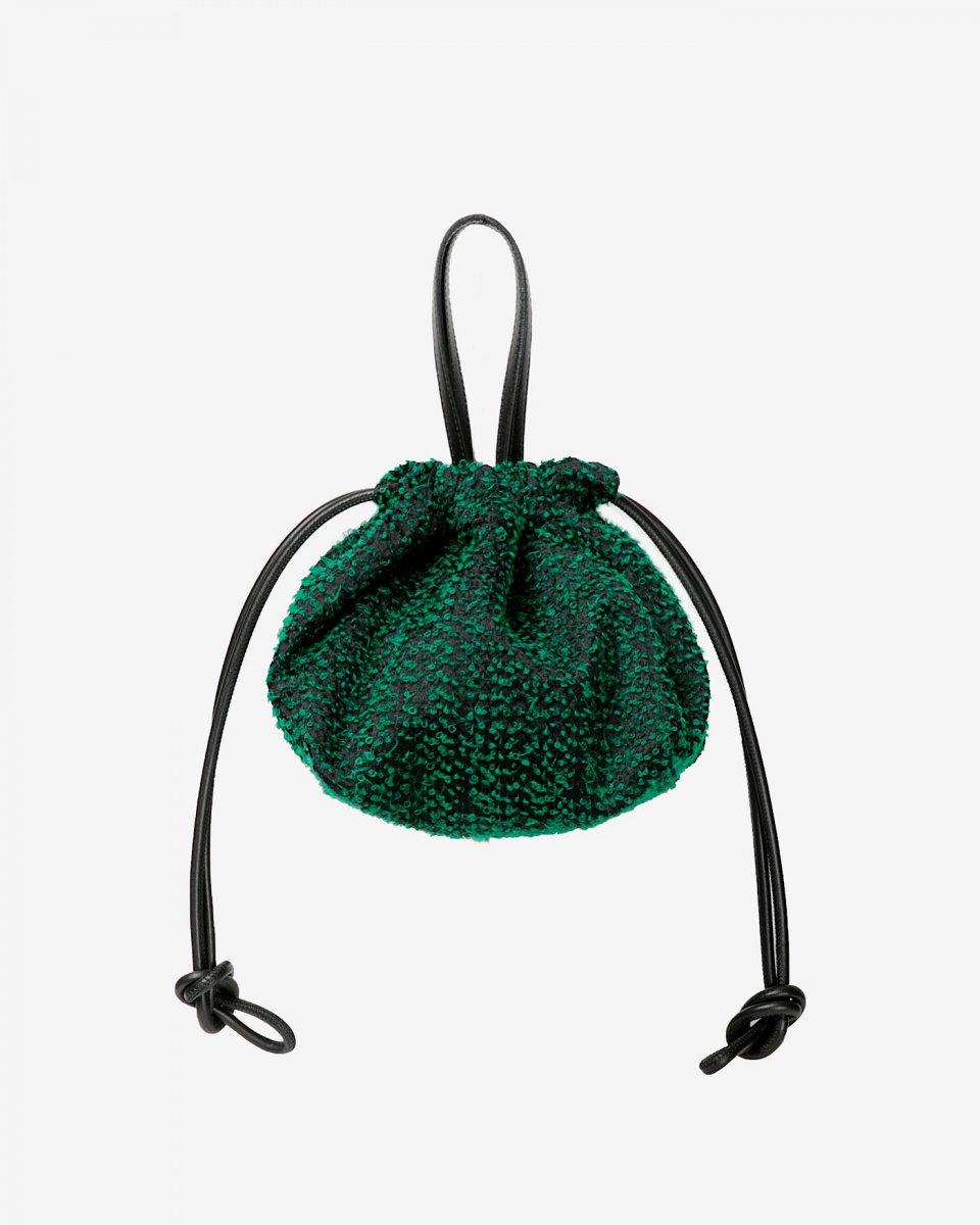 LASTFRAME ニードルパンチ巾着バッグ グリーン - ¥22,000
