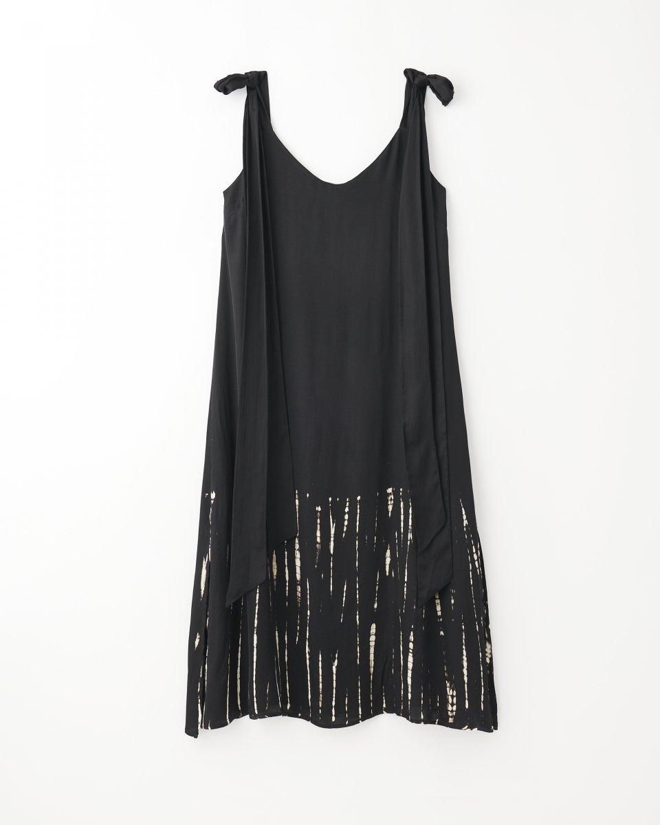 ディップダイスリップドレス ブラック+アイボリーストライプ - ¥27,500