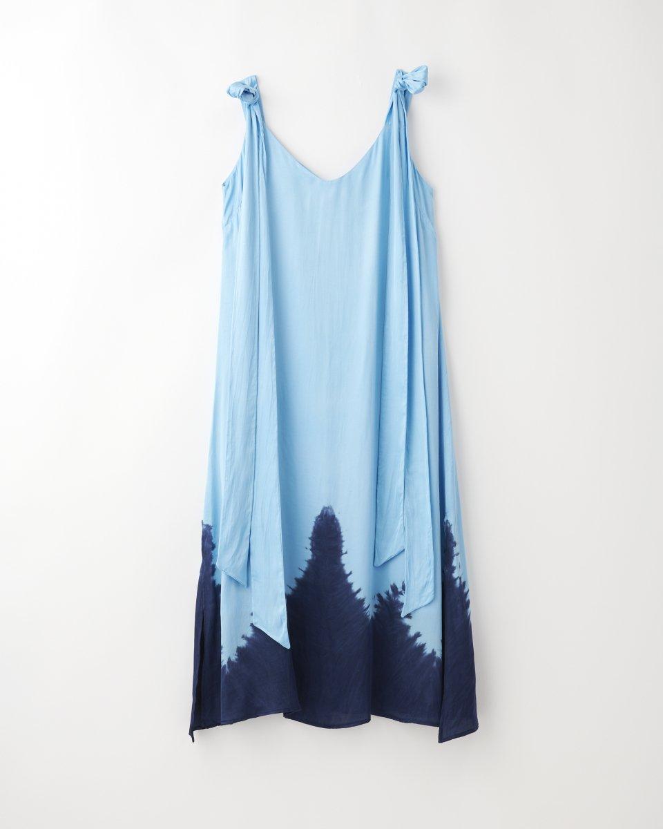 ディップダイスリップドレス ライトブルー+ネイビー - ¥27,500