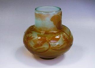 フランス エミール・ガレ ファイアーポリッシュ 芥子紋 ウランガラス花器