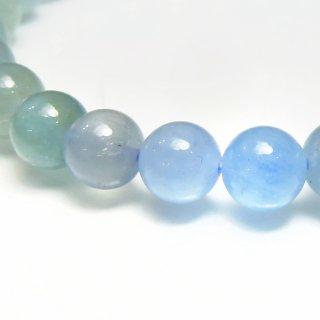 天然石 アクアマリン カラーグラデ 6.5mm ブレスレット aqua06.5002