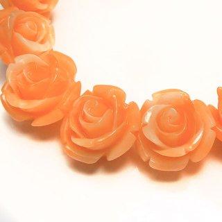 【1粒売り】 レジンストーン 薔薇 マーブルオレンジ L 10mm art_rose_12_do