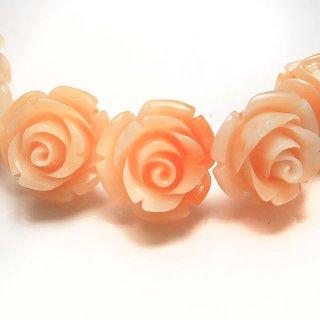 【1粒売り】 レジンストーン 薔薇 パステルオレンジ L 10mm art_rose_12_o