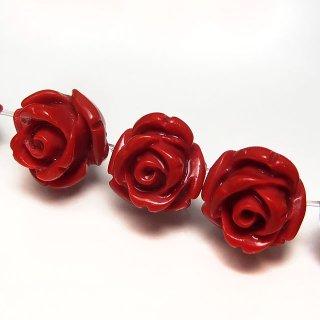 【1粒売り】 レジンストーン 薔薇 レッド S 8mm art_rose_8_r