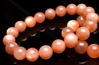 天然石 高品質オレンジピンクムーンストーン 8.5mm ブレスレット moo-08.5001op