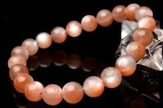 天然石 高品質オレンジピンクムーンストーン 8mm ブレスレット moo-08001op