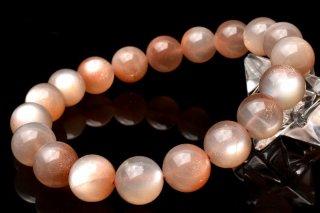 天然石 高品質オレンジピンクムーンストーン 10.5mm ブレスレット moo-10.5001op