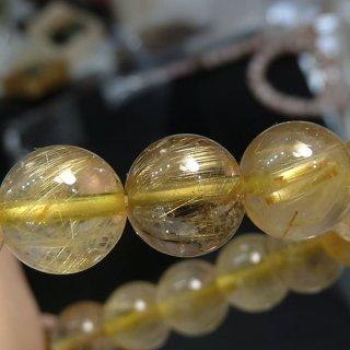 天然石 ゴールドルチルクォーツ 8.5mm ブレスレット rut08.5004