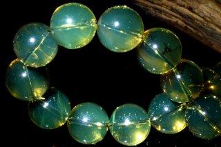 天然石 ドミニカ産 ブルーアンバー 琥珀 11mm ブレスレット amb-11001