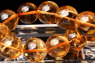 天然石 宝石質シトリン 14mm ブレスレット cit-14001