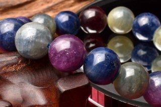 天然石 マルチカラー サファイア コランダム 11mm ブレスレット sap-11001