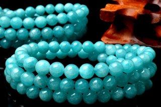 天然石 ?アマゾナイト 3連 7mm ブレスレット ama-07001-3