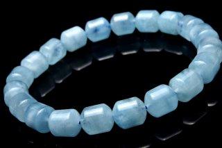 天然石 アクアマリン チューブ 10x11mm ブレスレット aqu-10x11001