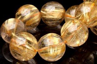 天然石 タイチンルチルクォーツ 14.5mm ブレスレット rut-14.5001