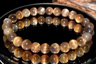天然石 ブラックサンムーンストーン 7mm ブレスレット sun-07001