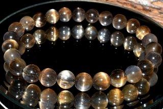 天然石 ブラックサンムーンストーン 7mm ブレスレット sun-07002
