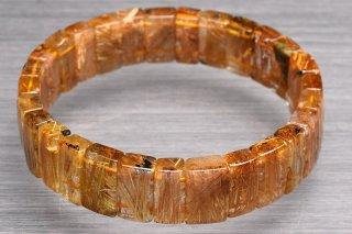 天然石 タイチンルチルクォーツ バングル 7-10x15mm ブレスレット rut7-10x15001