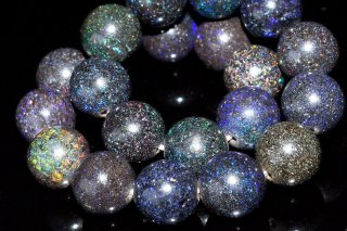 天然石 ブラックマトリクスオパール 9mm ブレスレット opa-09001b
