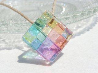 幸せガラス『しあわせ【幸】』ネックレス【大きさ選べます】【紐の色、長さ選べます】【受注制作】