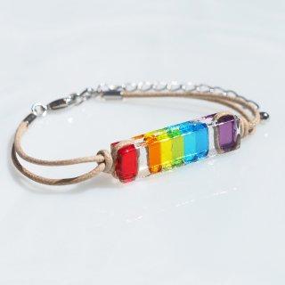 虹色ガラス『にじ【7色】』ブレスレット/アンクレット【紐の色選べます】【長さ、金属フリー選べます】【受注制作】