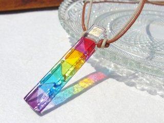 カクテルガラス『かくてる【虹】』ネックレス【紐の色、長さ選べます】【太チェーン選べます】【受注制作】