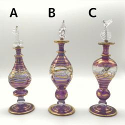 【SALE】吹きガラスの香水瓶 M (約15-17cm)バイオレット アロマ容器・アロマボトルを可愛く♪