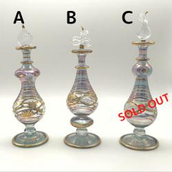 【SALE】吹きガラスの香水瓶 M (約15-17cm)パープルグレー アロマ容器・アロマボトルを可愛く♪