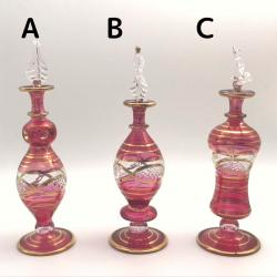【SALE】吹きガラスの香水瓶 M (約15-17cm) レッド アロマ容器・アロマボトルを可愛く♪