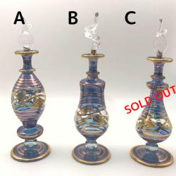 【SALE】吹きガラスの香水瓶 M (約15-17cm)ブルー アロマ容器・アロマボトルを可愛く♪
