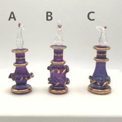 【SALE】 吹きガラスの香水瓶 SS(約7cm)バイオレット(メール便可)アロマ容器・アロマボトルを可愛く♪