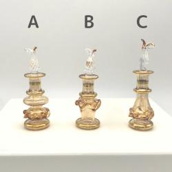 【SALE】 吹きガラスの香水瓶 SS(約7cm) イエロー(メール便可) アロマ容器・アロマボトルを可愛く♪